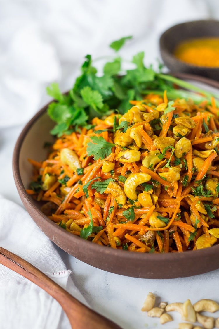 Bombay Carrot Salad With Cashews And Raisins