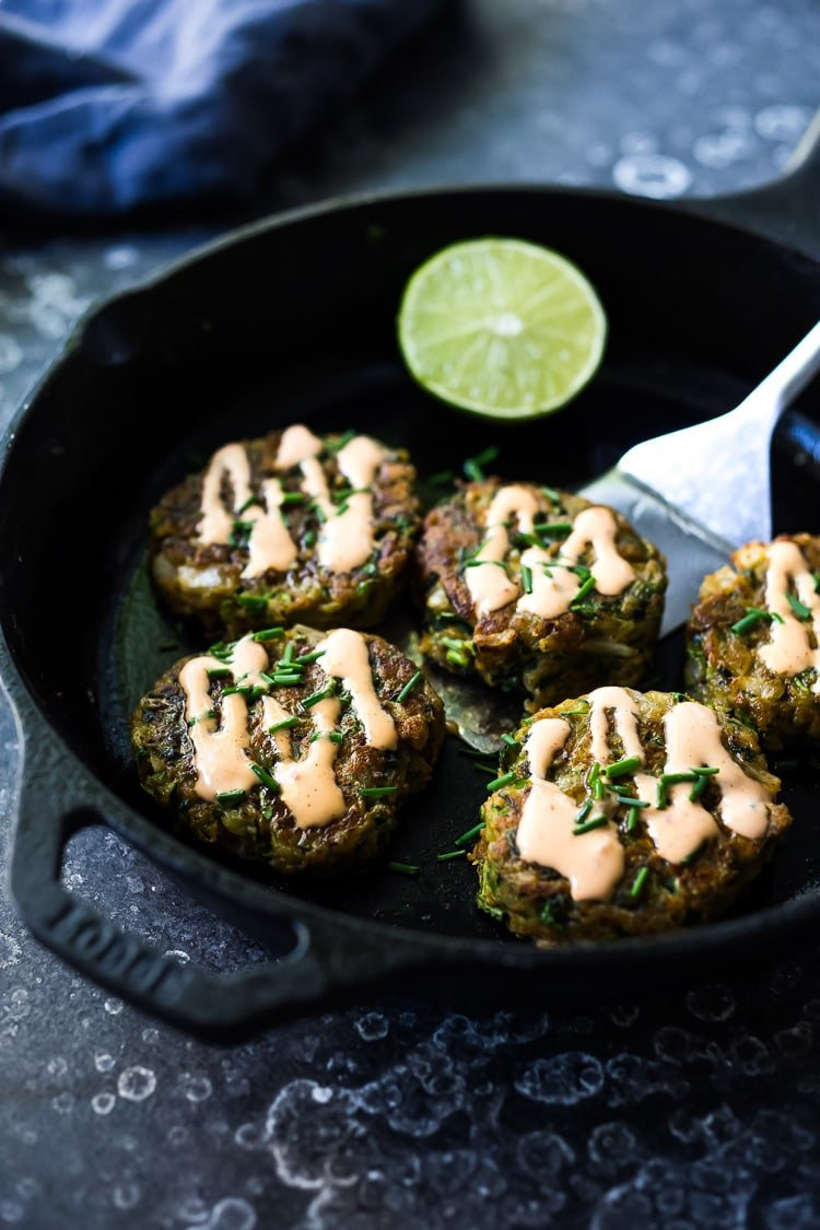 A simple healthy recipe for Zucchini Cakes with Jalapeño and Lime. #zucchinifritters #zucchinicakes #zucchinirecipes