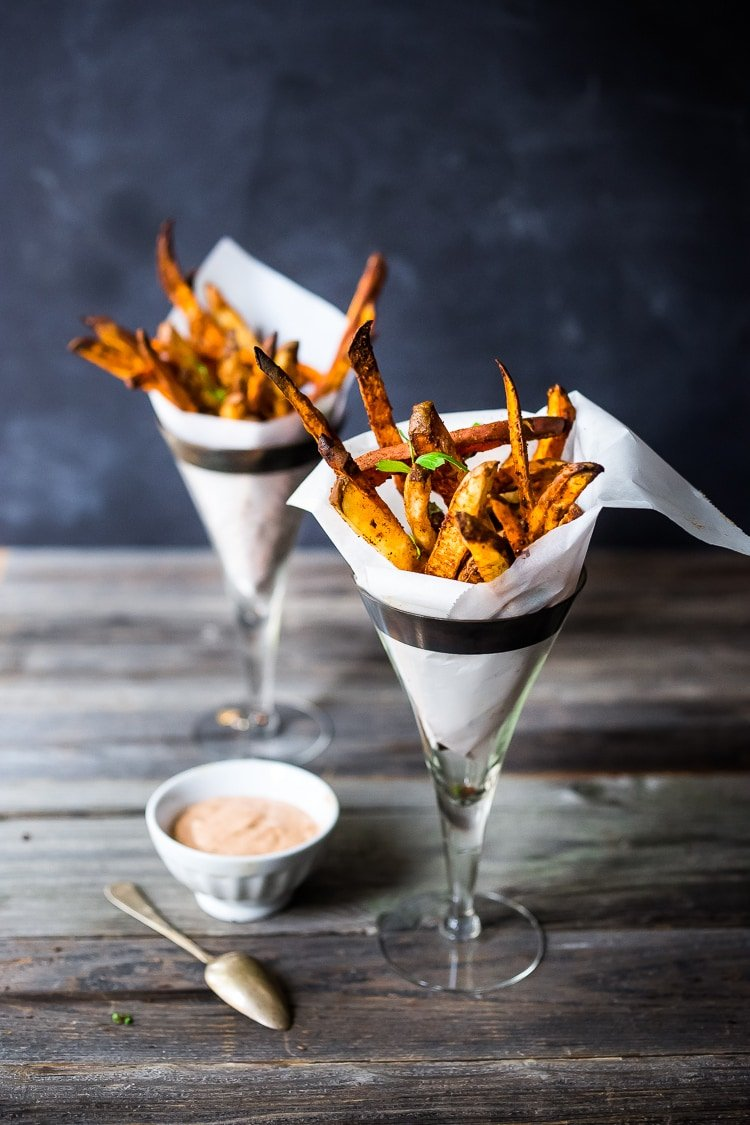 Baked Sweet Potato Fries With Harissa Feasting At Home