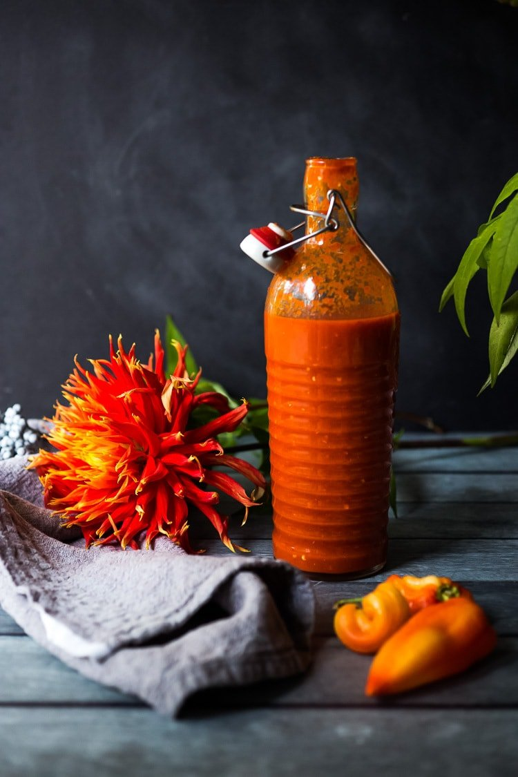 A simple delicious recipe for Fermented Hot Sauce using fresh summer chilies, with no special equipment and only 20 minutes of hands on time! #hotsauce #fermentedhotsauce #chilisauce