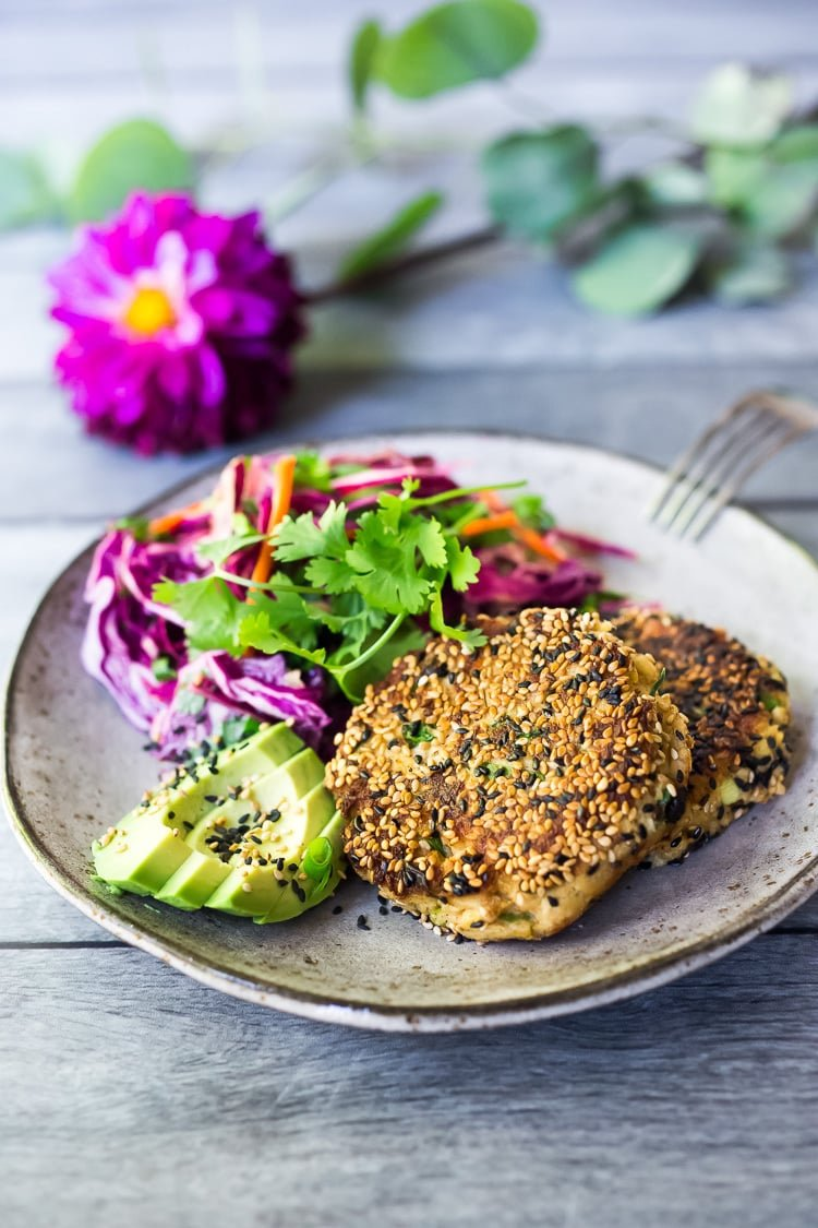 Salmon Patties coated with sesame seeds