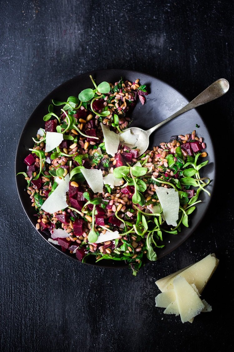 Beet and Farro Salad | A simple fall-inspired recipe for Farro Salad with Beets and their tops!  This healthy, vegan adaptable salad can be made ahead for midweek meals and can be served warm or chilled. #beetsalad #fallsalad #vegansalad #farrosalad #farro #beets