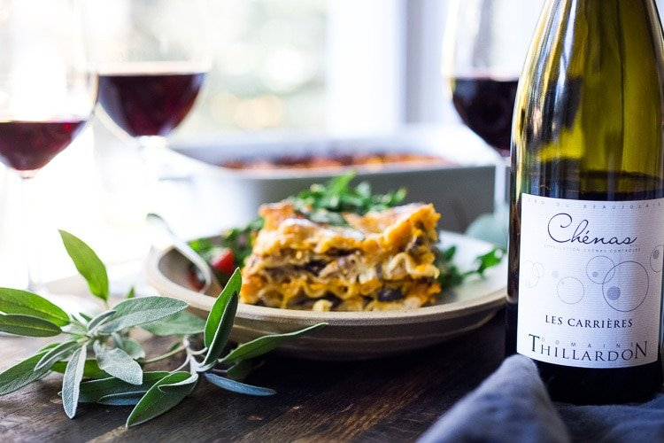 Butternut Lasagna with Wild Mushrooms and Sage- a delicious vegetarian or vegan main dish, perfect for the holiday table! Can be made ahead! #butternutlasagna #veganlasagna #veganthanksgiving #veganmaindish #vegetarianmaindish #mushroomlasaga #veganchristmas #vegandinner #plantbased #cleaneating