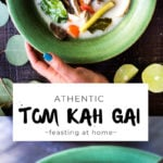 Authentic Tom Kha Gai (Thai Coconut Chicken Soup), an healthy, paleo recipe that can be made in an instant pot. Gluten-free and Vegan Adaptable! #tomkha #thaisoup #tomkhagai #chickensoup #instantpot