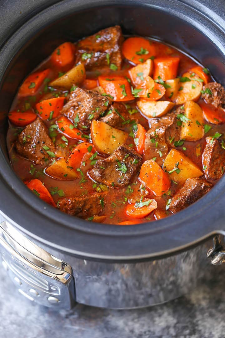 20 Best Crockpot Recipes for Cozy nights! Slow Cooker Beef Stew -Everyone's favorite comforting beef stew made easily in the crockpot! The meat is SO TENDER and the stew is rich, chunky and hearty! PLUS 20 Best Slow Cooker Recipes!