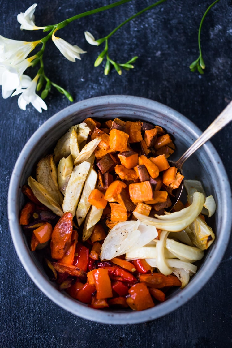 20 Vegetarian Side Dishes!|| And The secret to making Simple Roasted Veggies in the oven that come out perfect every time. Easy, healthy, delicious! Vegan and Gluten-free. #roastedveggies #roastedvegetables #bakedvegetables #vegan #healthy #veganside #glutenfree #feastingathome #sheetpanvegetables