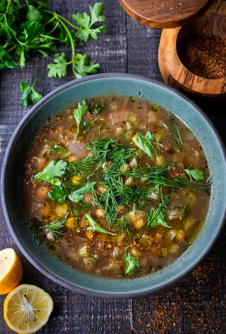 Brothy Chickpea Soup with Lemon, Fennel & Sumac. A healthy vegan soup, full of flavor! #vegansoup #chickpeasoup #chickpeastew #veganrecipes #plantbased #garbanzobeans