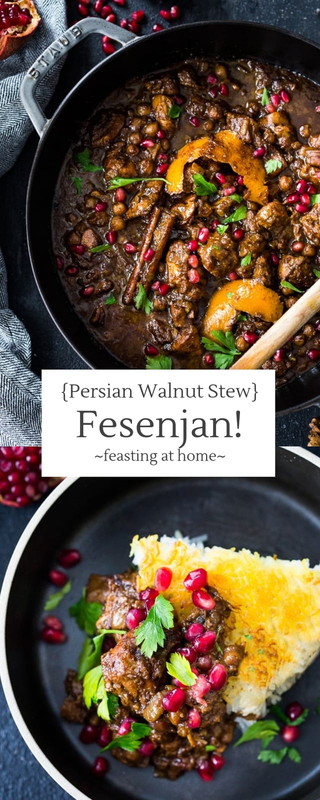 A delicious recipe for Fesenjan, aPersian Walnut Pomegranate Stew with chicken and chickpeas. Earthy, rich and tangy, this is bursting with Middle Eastern Flavor! #persianstew #fesenjan #persianrecipes #persiancchicken #middleeastern #chicken #chickpeastew