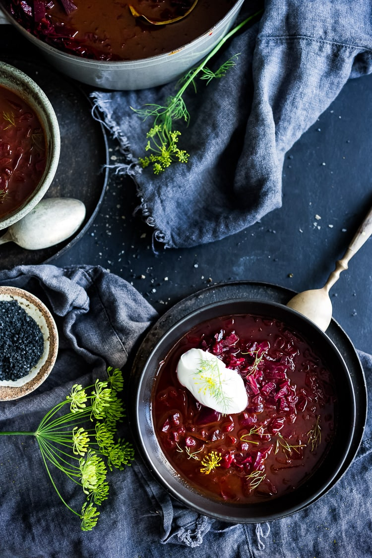 A simple delicious recipe for Borscht- a healthy, vegan, beet and cabbage soup that can be made in an Instant Pot or on the stove top. Warming and nourishing, Borscht is full of flavor and nutrients!  #borscht #beetborscht #beetsoup #cabbagesoup #vegansoup #beets #cleaneating #plantbased #eatclean #vegan #vegetarian #instantpot #instapot