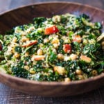 Winter Happiness Salad! Kale Quinoa Salad with Apples, Chickpeas and Currants! A hearty vegan salad that can be made ahead- perfect for potlucks, gatherings or midweek lunches! #kalesalad #vegansalad #quinoasalad #chickpeasalad #healthysalad #potluck
