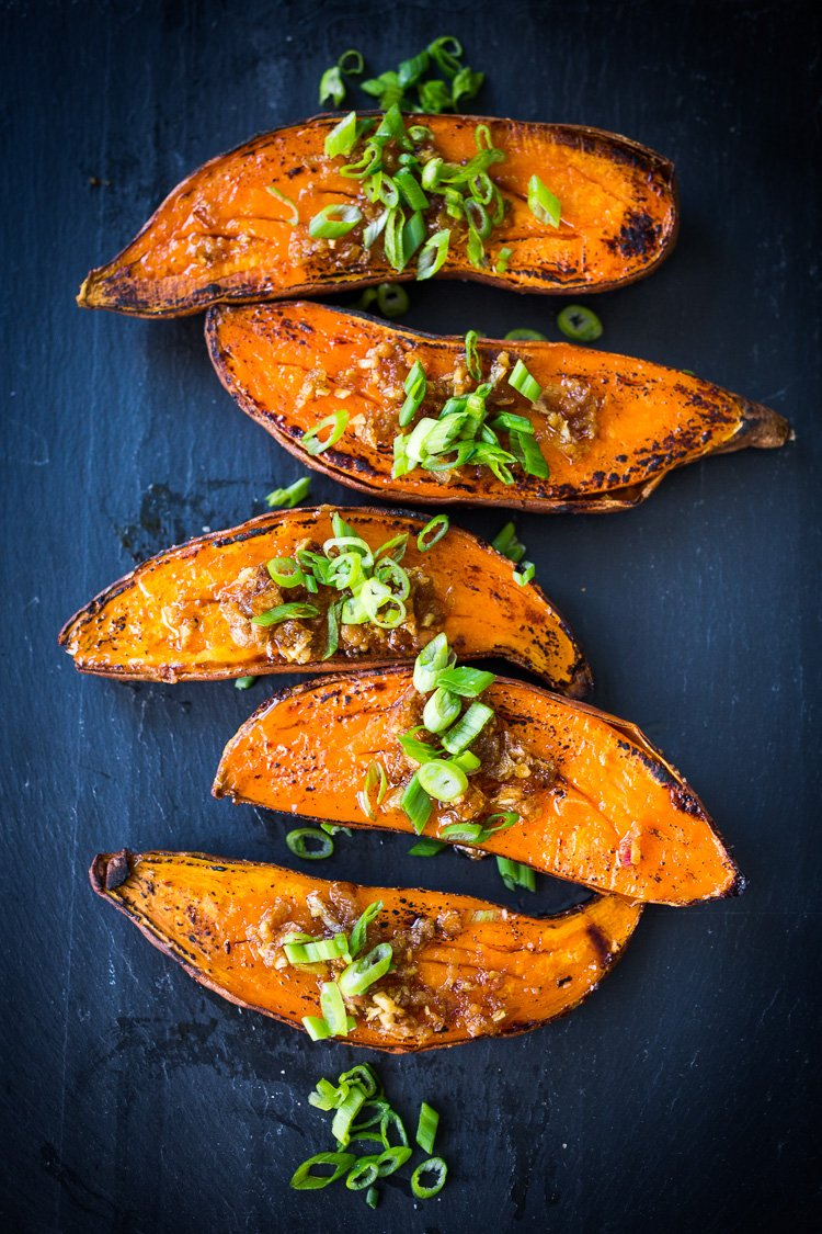 20 Vegetarian SIDE DISHES | Kyoto-Style, Roasted Sweet Potatoes with Miso, Ginger and Scallions - andeliciousvegan side that is easy to make and full of amazing flavor!