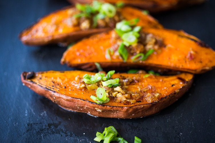 Kyoto Style Sweet Potatoes With Miso Ginger And Scallions Feasting At Home