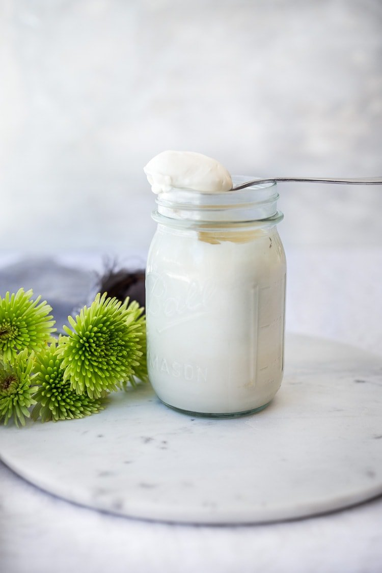 Creamy Vegan Mayo! A fast and easy, low-fat recipe for homemade vegan mayonnaise (like Veganaise)! Healthy, easy and flavorful! #veganmayo #vegan #mayo #healthymayo #tofu #cleaneating #plantbased #eatclean