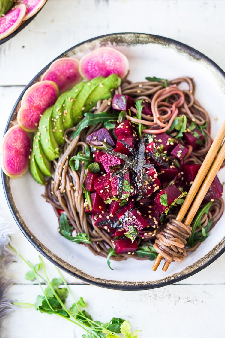 Beet Poke Salad - a delicious vegan make-head salad that can be served over greens, rice or soba noodles. Fast and easy! #poke #beets #beetsalad #vegan #vegansalad #cleaneating