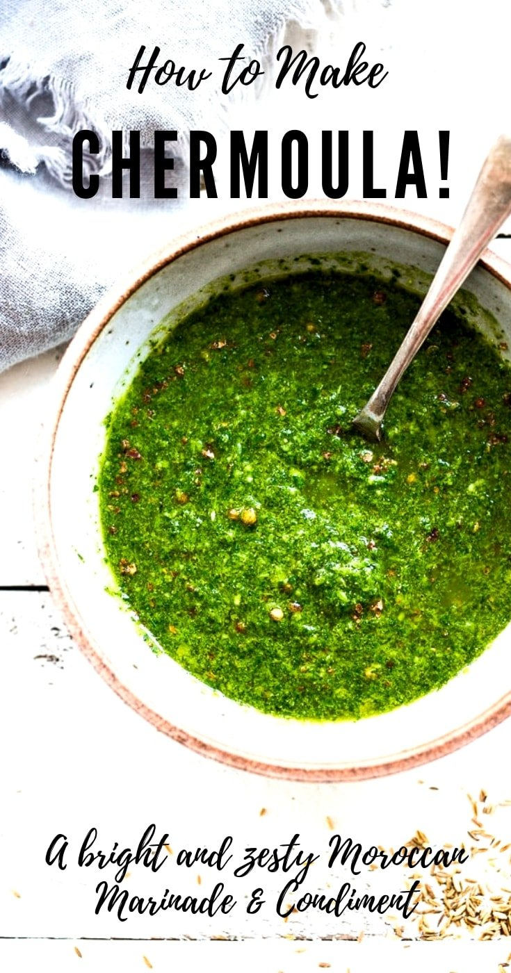 How to make Chermoula! A bright and zesty North African condiment that can be used to give soups, stew, fish, chicken a burst of flavor and brightness. Fast & easy! Like #chermoula #greensauce #chermoularecipe #moroccan