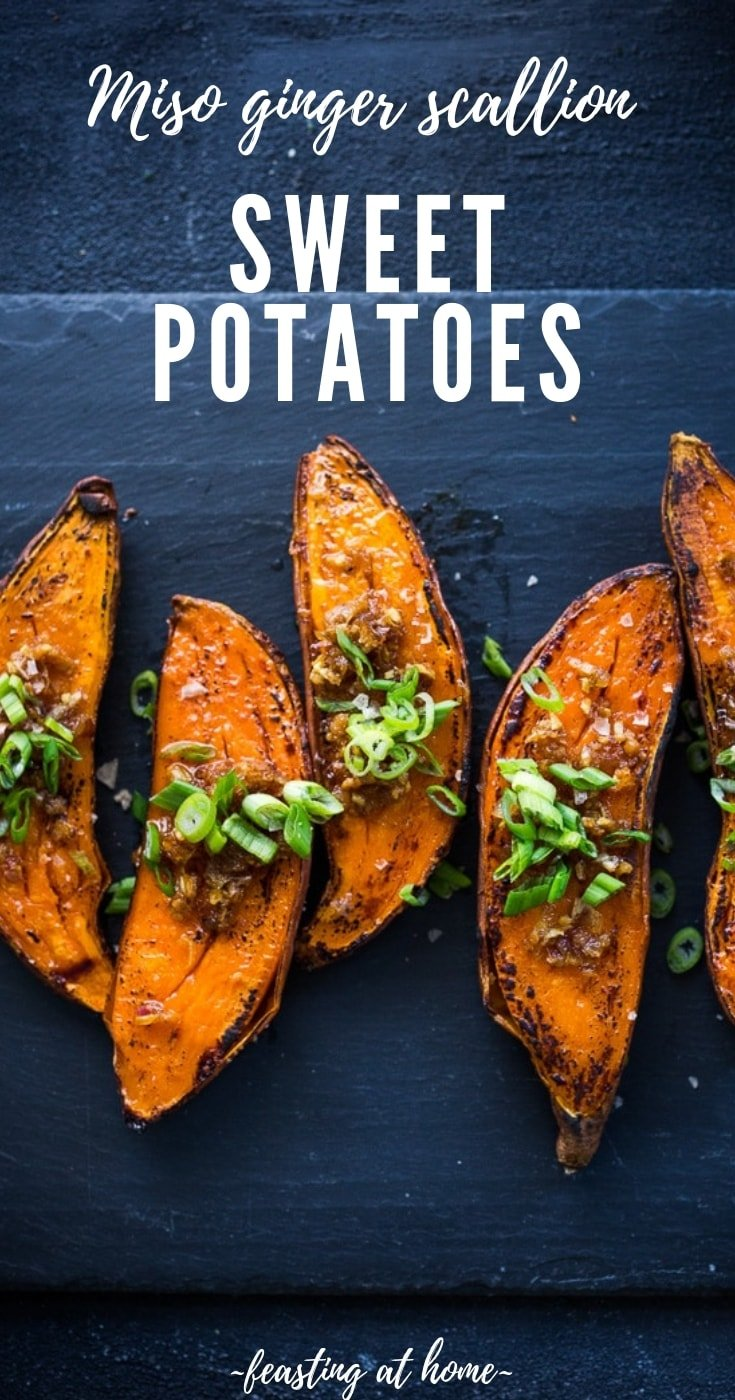 Kyoto-Style, Roasted Sweet Potatoes with Miso, Ginger and Scallions - andeliciousvegan side that is easy to make and full of amazing flavor!#sweetpotatoes #yams #misoyams #misosweetpotoates #vegan #veganside #plantbased #cleaneating