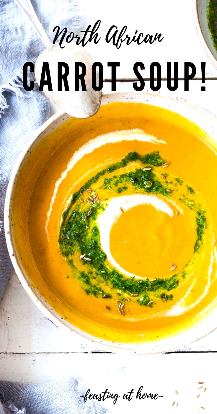 Carrot Soup with Chermoula and North African Spices - a simple healthy soup bursting with flavor. Vegan Adaptable! #carrotsoup #carrots #vegan #chermoula #carrot recipes #easy #recipes #cleaneating
