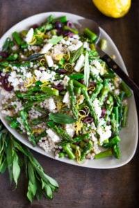 Spring Asparagus Salad with Israeli Cous Cous ( or use a grain!) kalamata olives, feta, lemon zest and mint with a lemony dressing. #asparagus #asparagussalad