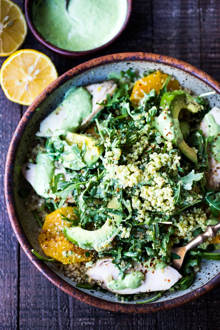 Lemony Chicken Arugula Quinoa Salad with Avocado and Creamy Basil Dressing- an easy low-carb, high protein salad that is full of amazing flavor! #salad #chickensalad #quinoa #quinoasalad #arugula #arugulasalad
