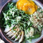 Lemony Chicken Arugula Quinoa Salad with Avocado and Creamy Basil Dressing- an easy high protein salad that is full of amazing flavor! #salad #chickensalad #quinoa #quinoasalad #arugula #arugulasalad