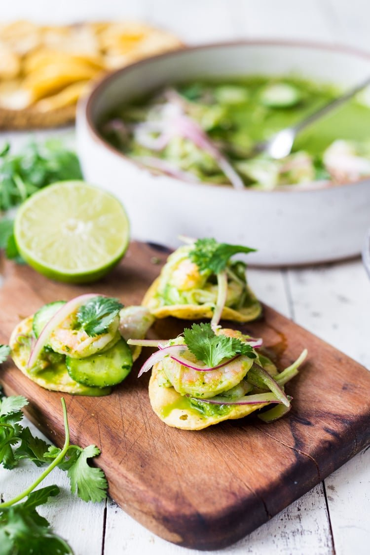 Authentic Aguachile Recipe! Similar to ceviche, shrimp is cooked in a mixture of lime juice, chiles and cilantro. Flavorful, simple and sooooo delicious! #aguachile #shrimp #verde #ceviche #Mexican