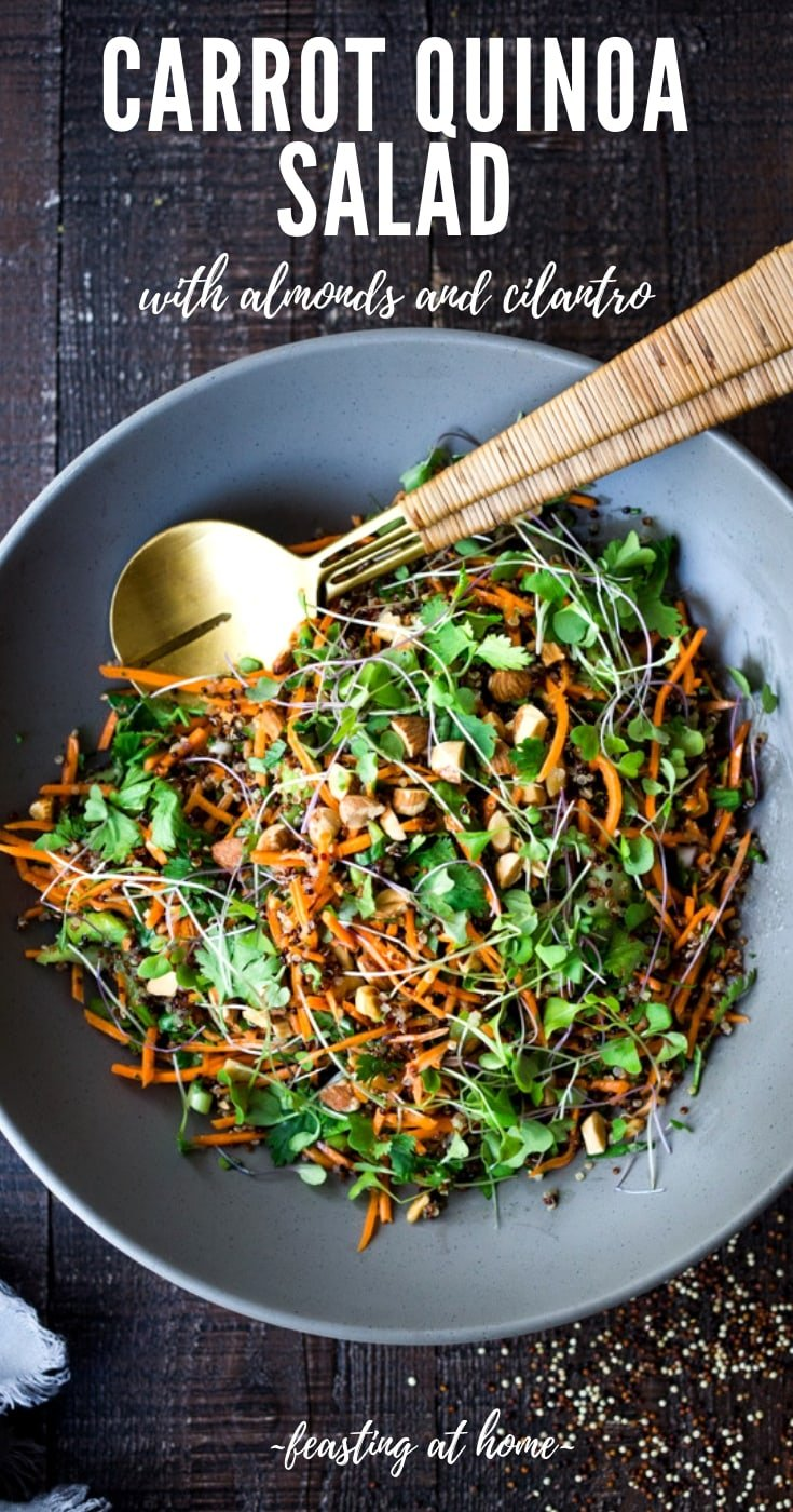 Carrot Quinoa Salad with Almonds and Raw Apple Cider Vinaigrette- a delicious vegan salad that can be made ahead. #vegan #quinoa #quinoasalad #carrotsalad #vegansalad