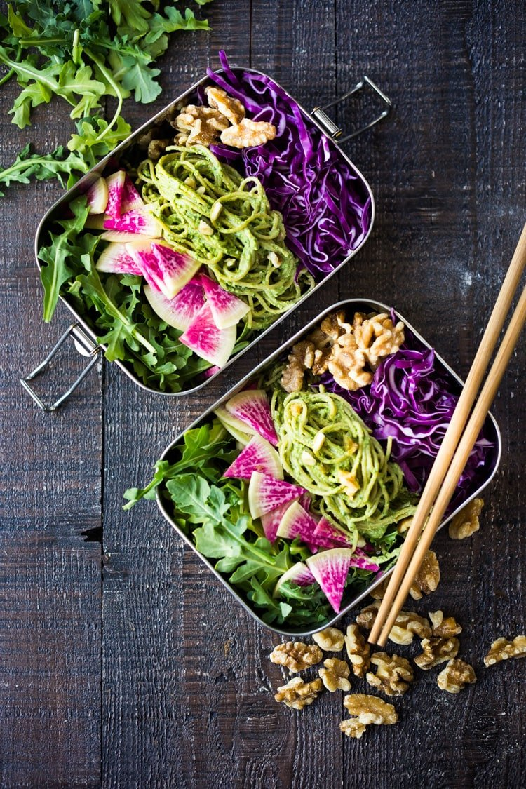 A delicious recipe for Superfood Walnut Pesto, tossed with soba noodles & loaded up with healthy veggies- a flavorful nutritious lunch that is packable and can be made ahead! #walnut pesto