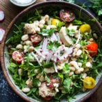 A simple recipe for Tuscan White Bean & Tuna Salad with arugula, radishes, tomatoes and a simple balsamic vinaigrette. #tunasalad #whitebeans #tunarecipes #salad #healthysalad #tuscansalad