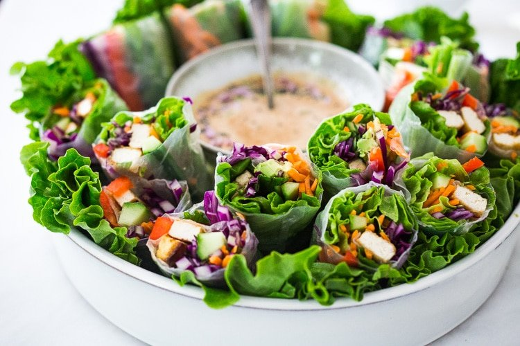 Fresh Spring Rolls With Peanut Sauce Feasting At Home