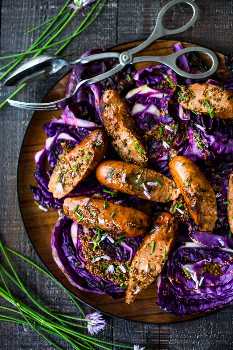 Grilled Cabbage With Sausage Vegan Adaptable Feasting At Home