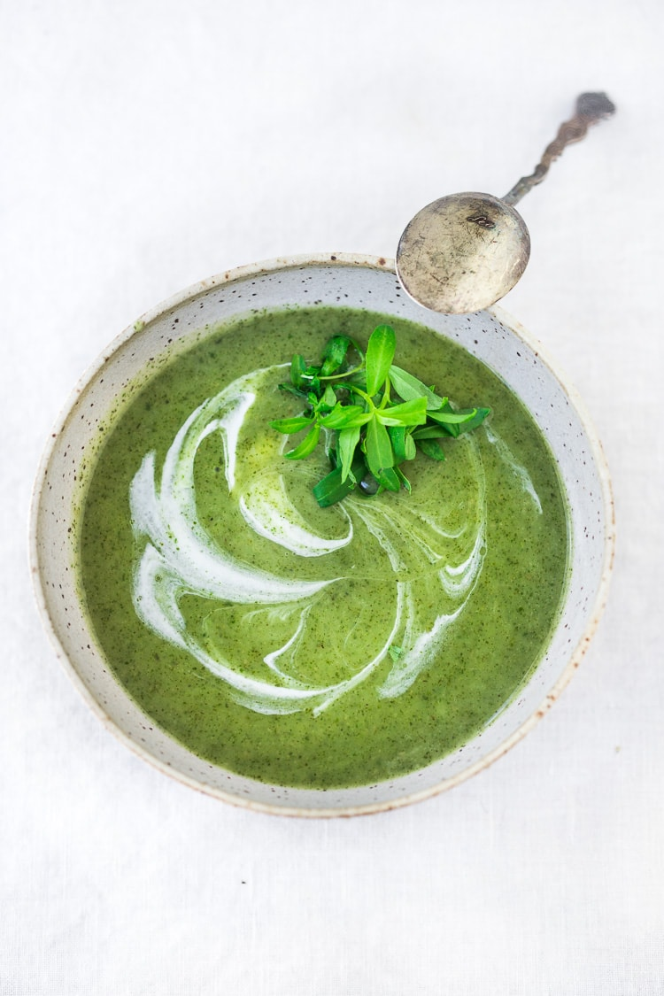 Nettle Soup Recipe with Tarragon - a simple easy recipe, full of incredible health benefits and lovely flavor. A Scandinavian specialty to be enjoyed in late spring and early summer when nettles are aplenty. Vegan Adaptable!#nettles #nettlesoup #nettlesouprecipe #vegan #tarragon #healthysoup #springsoup #stingingnettle