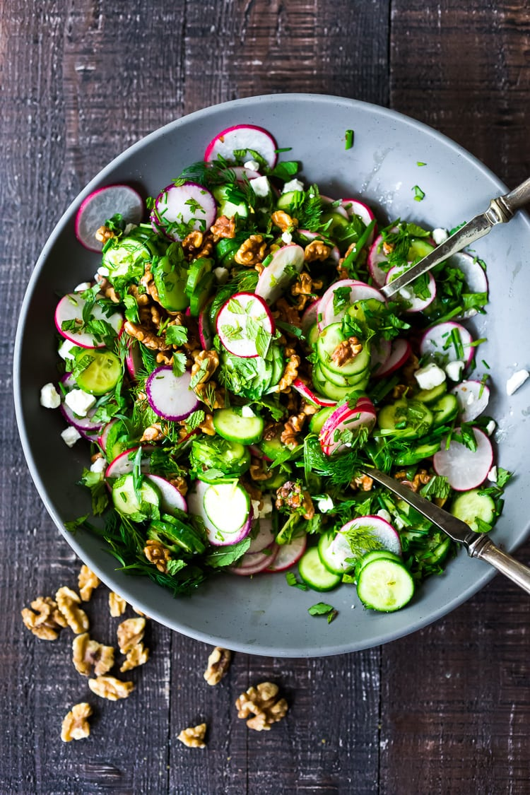 Persian Walnut Salad with Herbs, Cucumber and Radishes - a nutritious summer side to all your outdoor grilling and gatherings! Vegan adaptable!