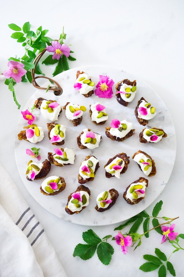 25 Appetizers to Bring to a Party! (That are not boring) Stuffed Dates with Pistachios- and your choice or rose petals ( in Summer) or pomegranate seeds (in winter)- a simple easy appetizer to bring to your party, that can be made ahead!