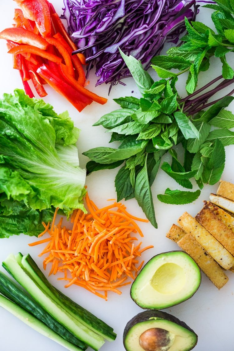 Ingredients in Fresh Spring Rolls: Fresh veggies, tofu, avocado, herbs and lettuce.
