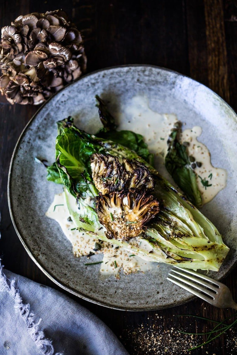 Grilled Romaine Salad with Maitake Mushrooms with Furikake Caesar Dressing -a Japanese-Inspired Caesar salad that comes together in 20 minutes! #keto #caesar #grilledromaine #grilledromainehearts #grilledromainecaesar