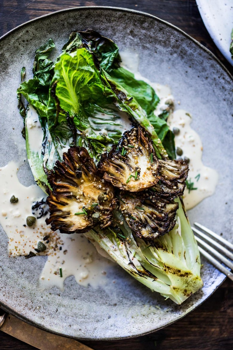 Grilled Romaine with Maitake Mushrooms with Furikake Caesar Dressing -a Japanese-Inspired Caesar salad that comes together in 20 minutes! #keto #caesar #grilledromaine #grilledromainehearts #grilledromainecaesar