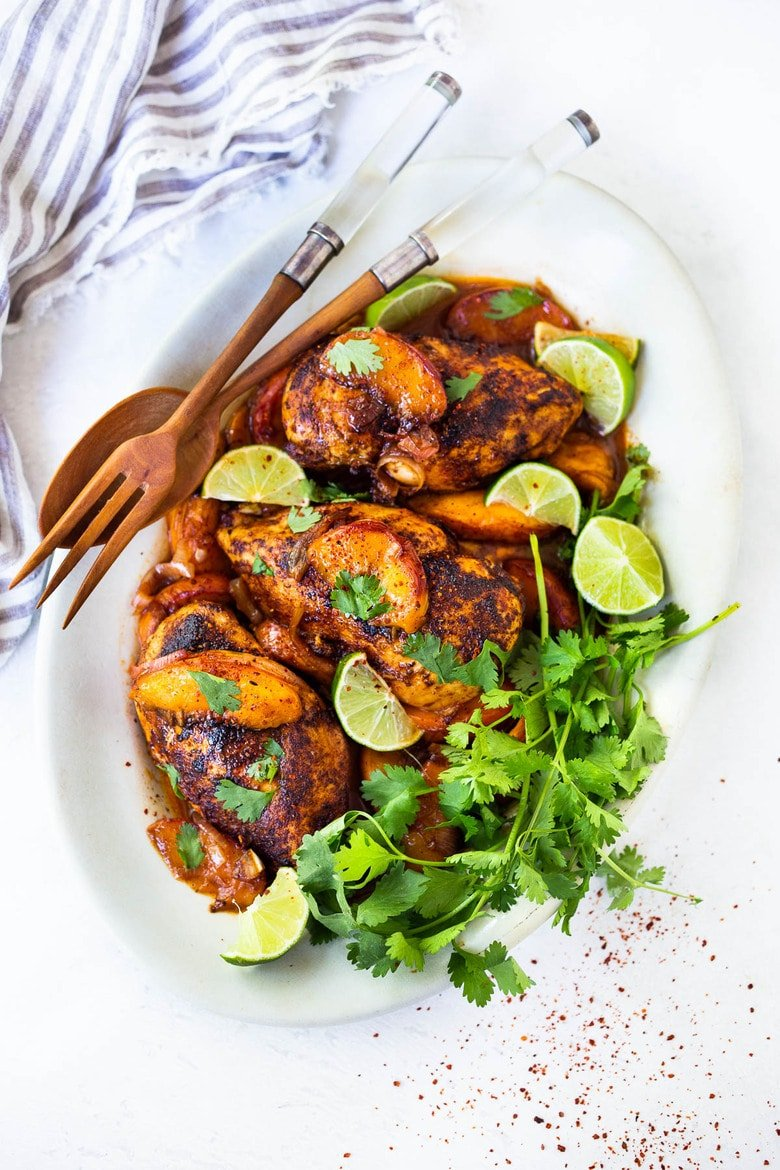 Chili Lime Chicken with Glazed Peaches - a fast and healthy weeknight dinner highlighting fresh juicy peaches. Can be made with breast or thigh meat. #chicken #chickenrecipes #peaches #easydinner #chililimechicken #weeknightdinner #easydinner