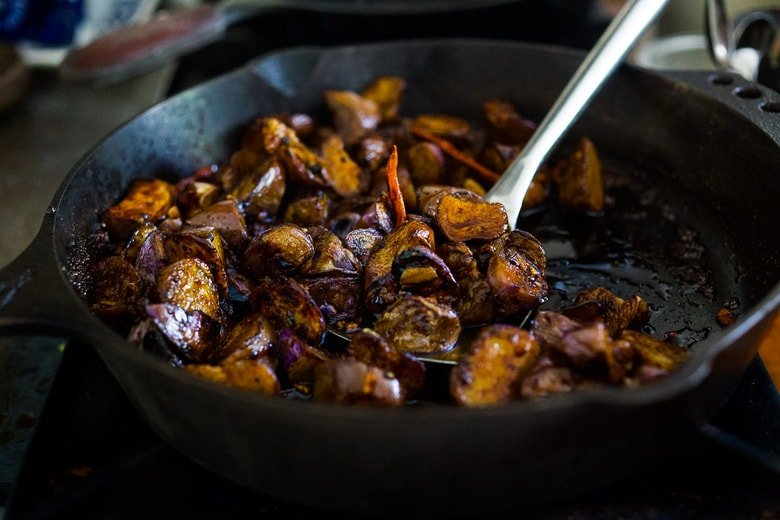 Stir-fried Chinese eggplant recipe with Szechuan sauce, chilies and peanuts