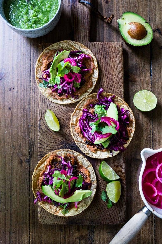 crispy jackfruit tacos with slaw