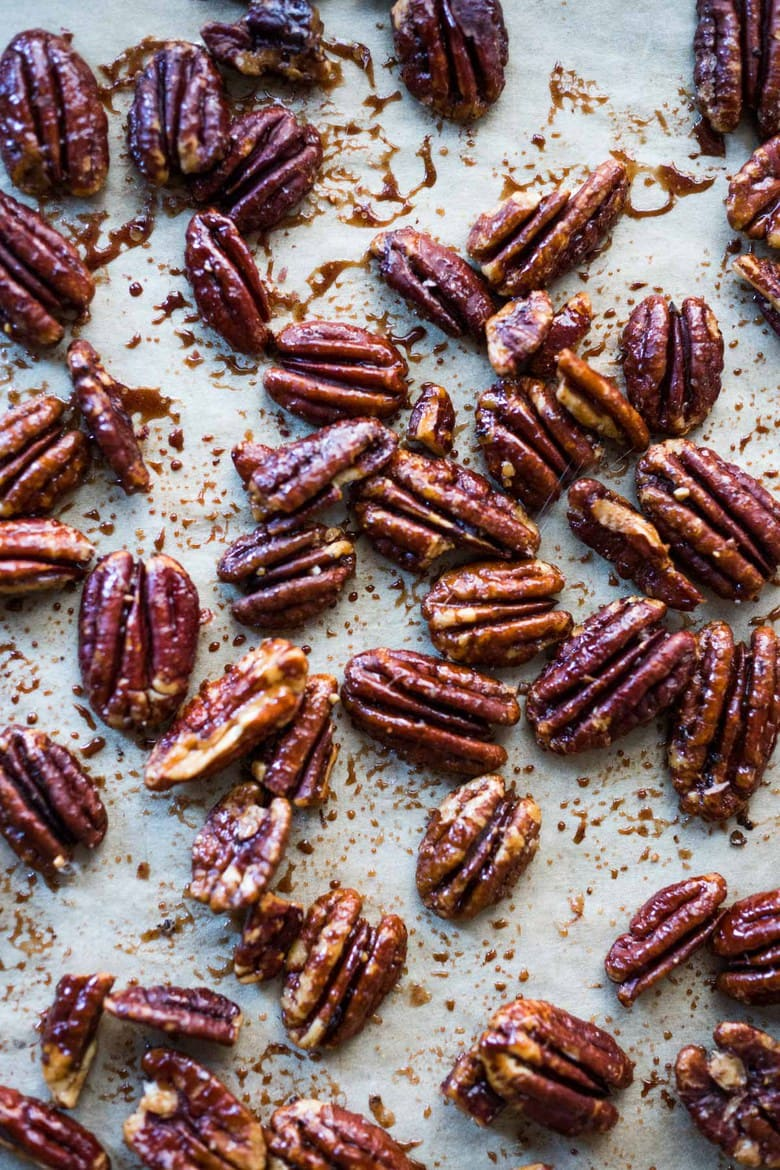 maple-roasted candied pecans baked in the oven