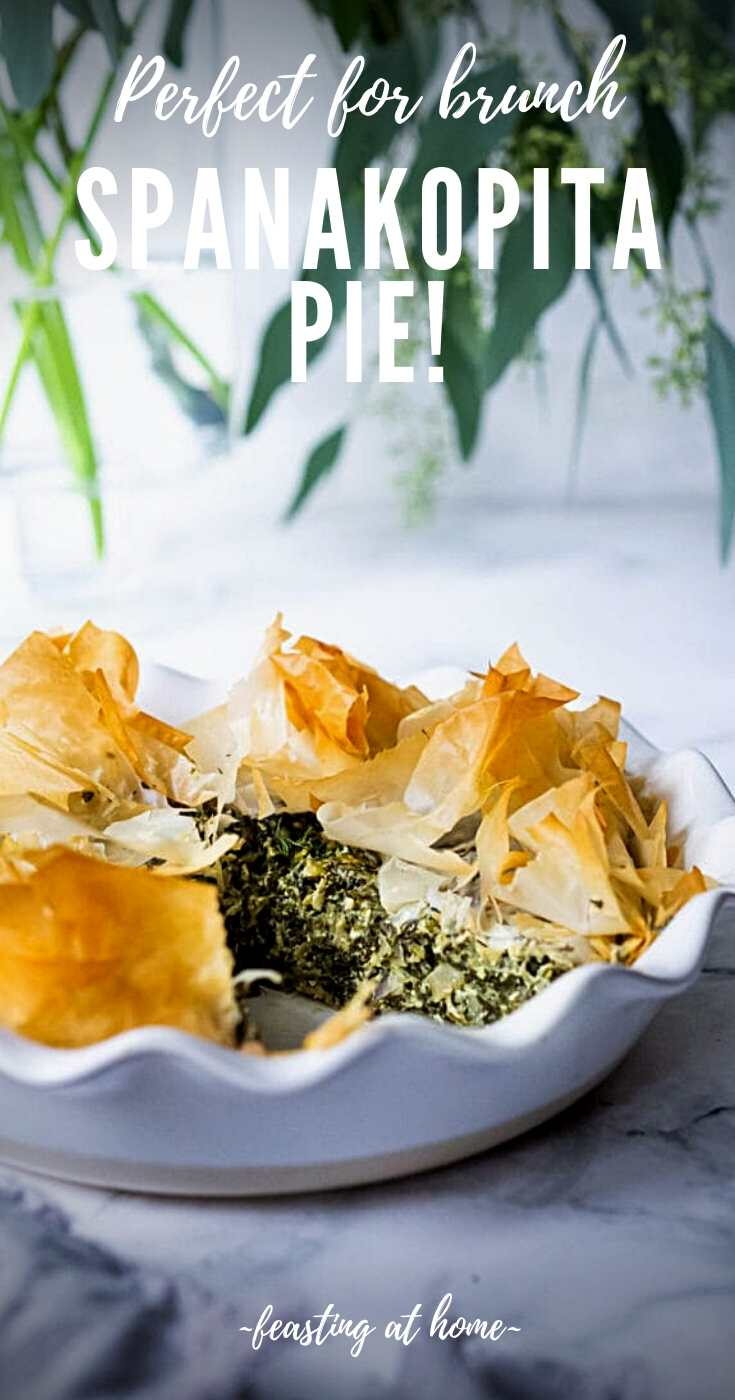 Spanakopita Pie - an easy, authentic, healthy recipe for spanakopita, made in a pie pan! #spanakopita #spinachrecipes #phyllo #spanakopitapie #phyllodough