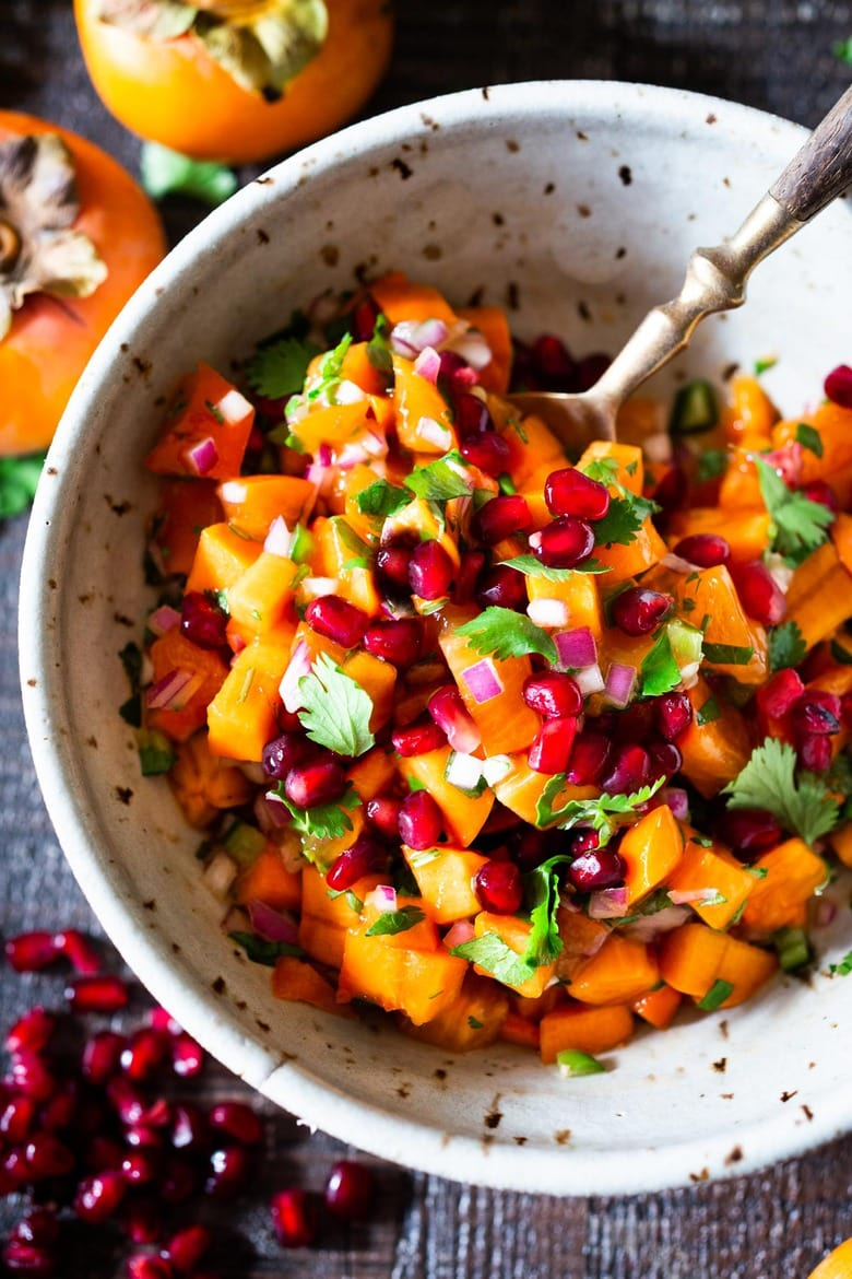 How to make the most delicious salsa in winter, using Fuyu Persimmons instead of tomatoes! Easy, quick and flavorful! Use this on fish tacos or like you would Pico de Gallo. #salsa #persimmons #persimmonrecipes #picodegallo