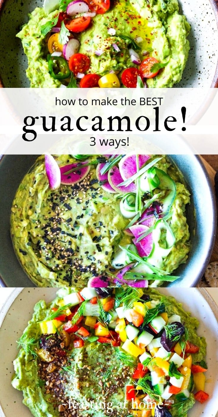 How to make the Best Guacamole! Here are 3 different versions of our favorite avocado dip! Traditional Guacamole, Furikake Guacamole and Zaatar Guacamole!