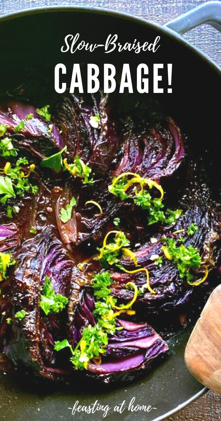 Slow Braised Cabbage - slow cooked in the oven until meltingly tender, topped with Gremolata. Vegan and Gluten-free. #cabbage #braisedcabbage