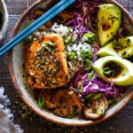 Here's a fast & healthy weeknight Dinner! Furikake Salmon Bowls- these delicious bowls are made with seared sesame salmon, shiitake mushrooms, avocado and cabbage. Make this in 30 minutes! #salmonbowl #keto #salmon #furikake