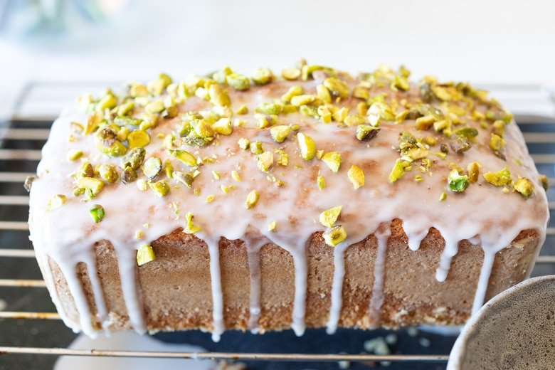 Meyer lemon loaf cake with pistachios and lemon glaze