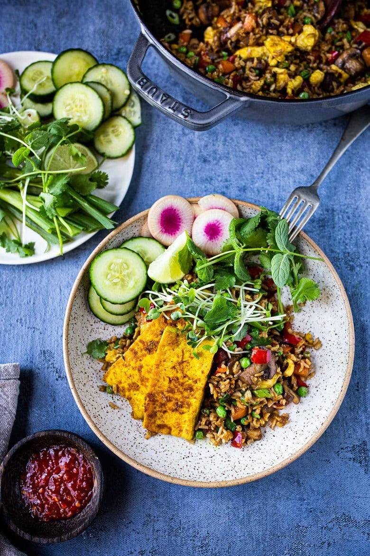 Vegetarian Nasi Goreng (Indonesian Fried Rice) loaded up with fresh veggies! Add egg or keep it vegan! Easy Tasty recipe! #nasigoreng