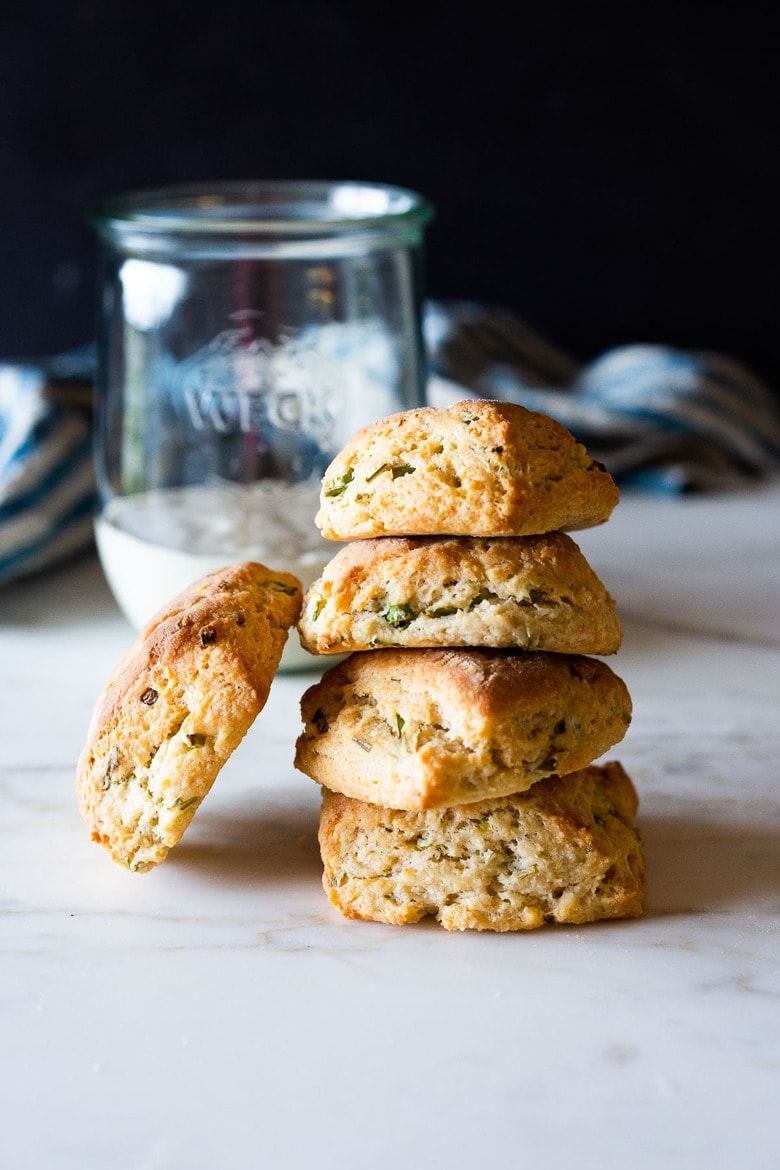 An easy recipe Sourdough Biscuits with scallions using leftover sourdough starter (or discard).This buttery biscuits can be made in 45 minutes!