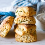 An easy recipe Sourdough Biscuits with scallions using discard or leftover sourdough starter. Vegan adaptable!