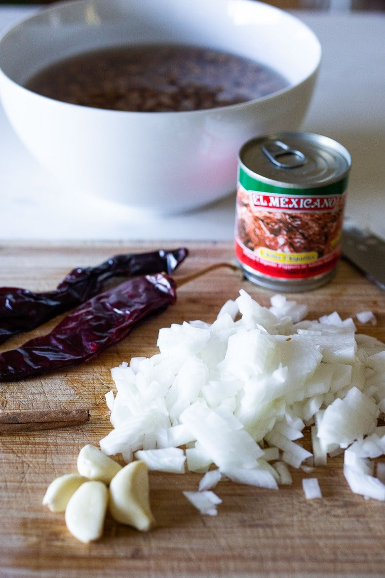 chopped onion and dried chillies
